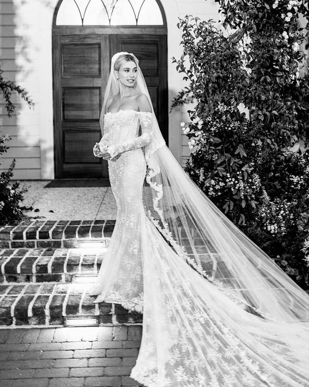 Hailey Bieber on her wedding day to Justin Bieber