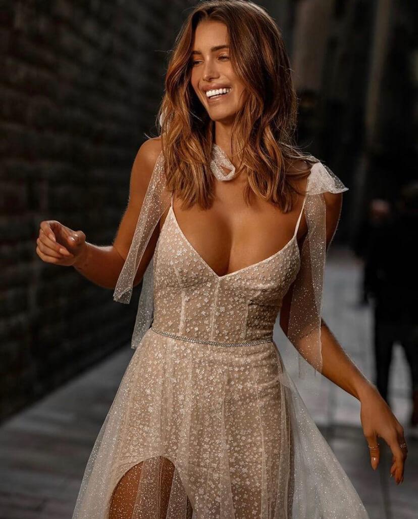 Model in Naples wearing Jolie Bridal Style J-211